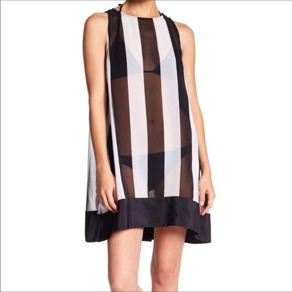 bc6f7fdf41 TED BAKER black white striped cover up dress